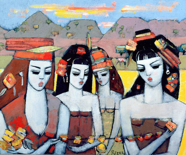 Headdress Photograph - Four From Ys, 2004 Oil On Canvas Board by Endre Roder