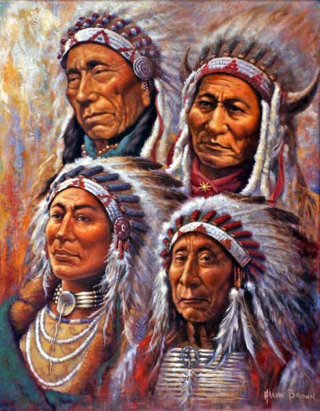 Wall Art - Painting - Four Great Lakota Leaders by Harvie Brown