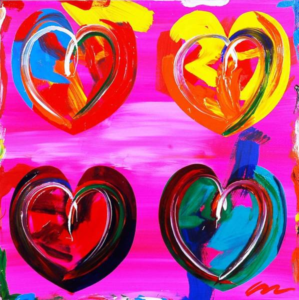 Interior Wall Art - Painting - Four Hearts - Edition 2 by Mac Worthington