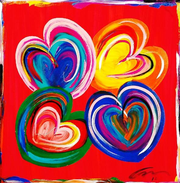 Interior Wall Art - Painting - Four Hearts Edition 4 by Mac Worthington