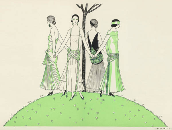 Wall Art - Drawing - Four Ladies Holding Hands, Wearing by Mary Evans Picture Library