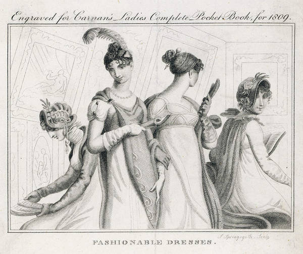 Influence Drawing - Four Ladies In A Gallery Wear by Mary Evans Picture Library