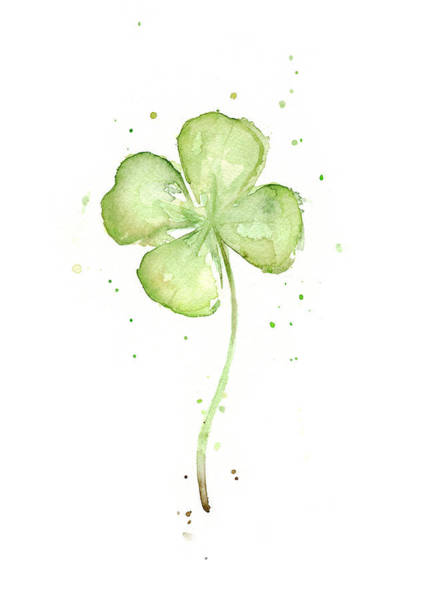 Wall Art - Painting - Four Leaf Clover Lucky Charm by Olga Shvartsur