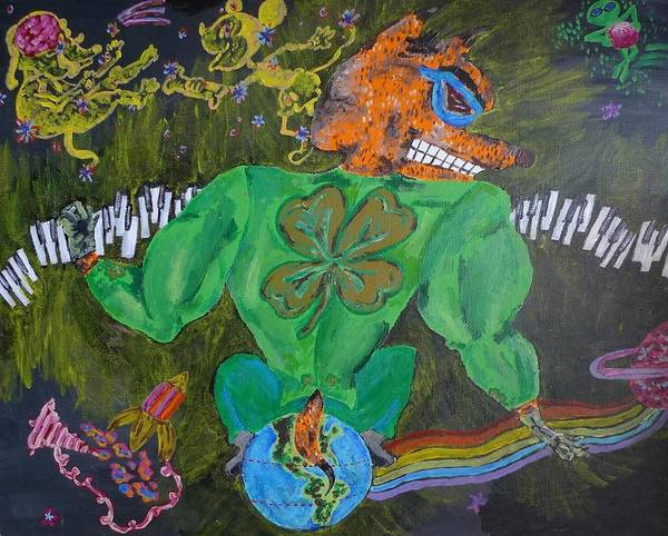 Lucky Clover Painting - Four Leaf Clovers In Space by Paks Cahill