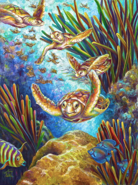 Wall Art - Painting - Four Loggerhead Turtles by Nancy Tilles