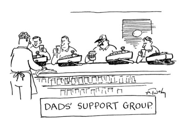 Father Drawing - Four Men Sitting At A Bar by Mike Twohy