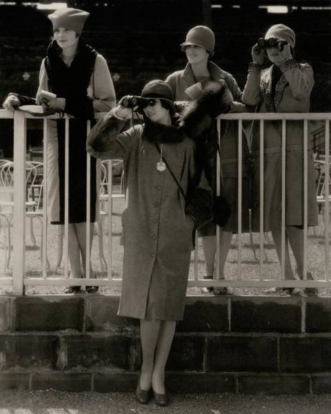 People Watching Photograph - Four Models At The Belmont Race Track by Edward Steichen