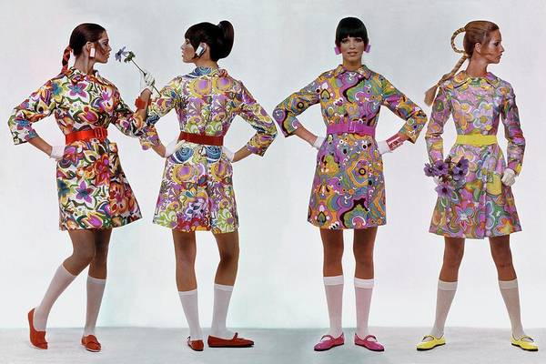 January 1st Photograph - Four Models Wearing Colorful Print Dresses by Gianni Penati