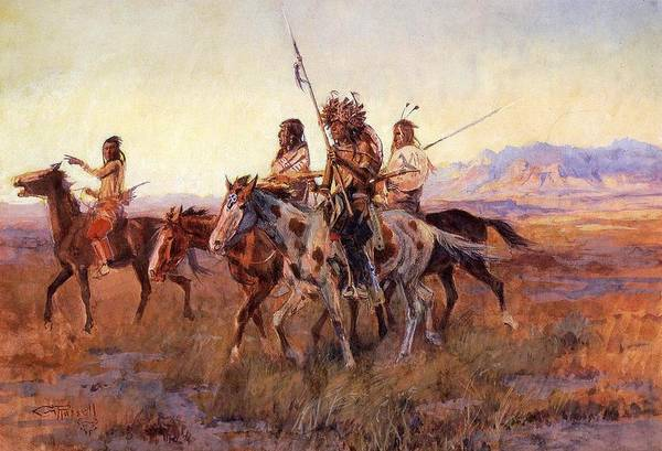 Mounted Digital Art - Four Mounted Indians by Charles Russell