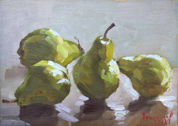 Pears Wall Art - Painting - Four Pears by Ylli Haruni
