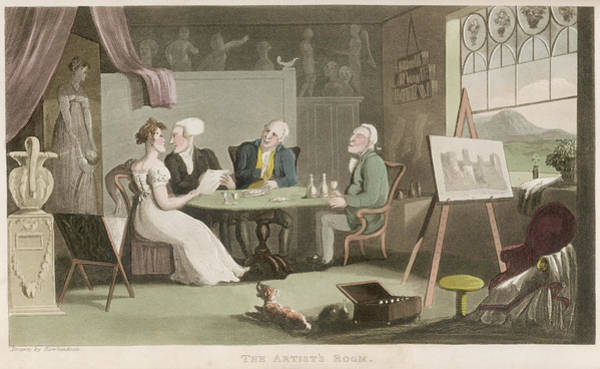 Wall Art - Painting - Four People, Including Dr Syntax, Sit by Mary Evans Picture Library