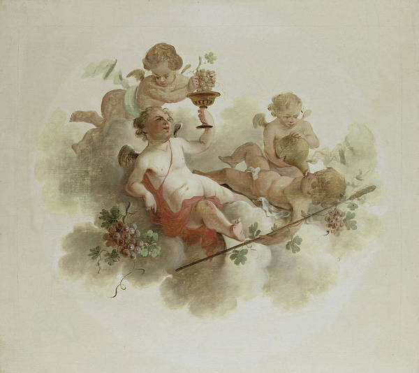 Grape Drawing - Four Putti With Grapes, Anonymous by Litz Collection