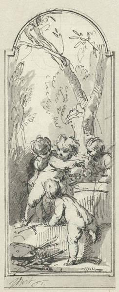 Wall Art - Drawing - Four Putti With Palette And Brushes In Bossage by Quint Lox