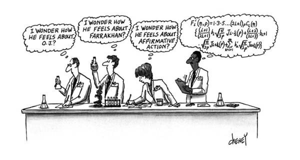 Scientist Drawing - Four Scientists Working In A Lab by Tom Cheney