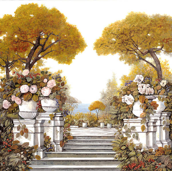 4 Wall Art - Painting - four seasons-autumn on lake Maggiore by Guido Borelli