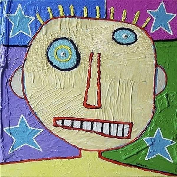 Brian Wilson Wall Art - Painting - Four Star Face by Brian Wilson