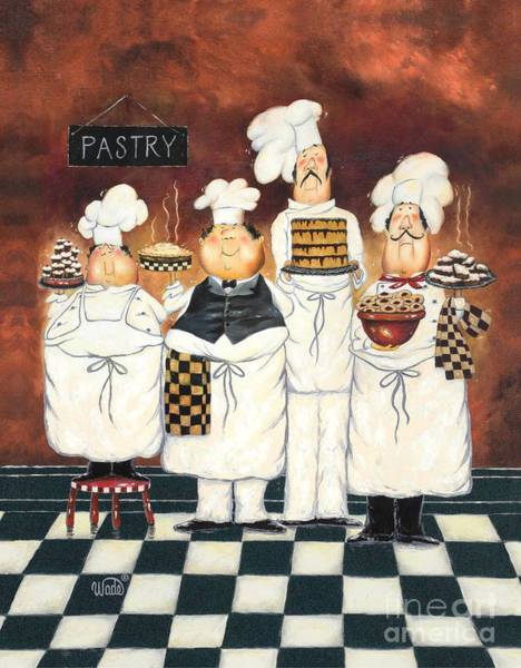 Pastries Painting - Four Tall Pastry Chefs by Vickie Wade