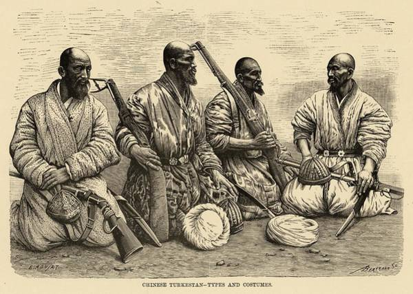 Influence Drawing - Four Uighur Men From The  Far West by Mary Evans Picture Library