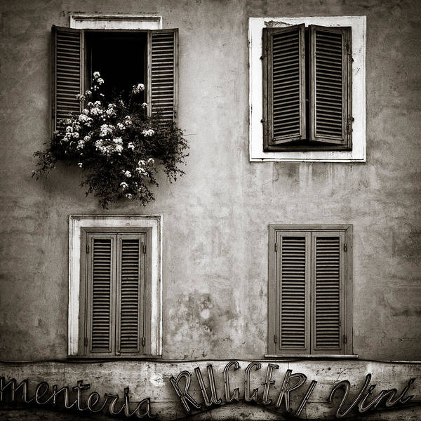 Mono Photograph - Four Windows by Dave Bowman
