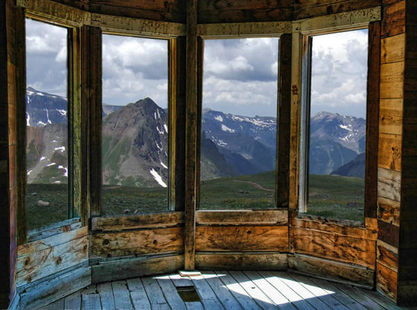 Photograph - Four Windows Of Animas Forks Ghost Town In Colorado by Ginger Wakem