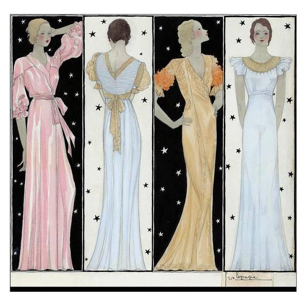 Visual Arts Digital Art - Four Women In Designer Evening Gowns by Georges Lepape