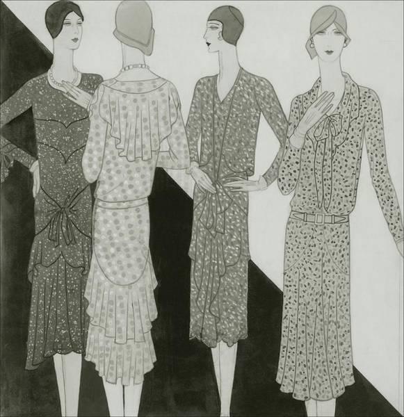 Necklace Digital Art - Four Women Wearing Summer Dresses by Lambarri