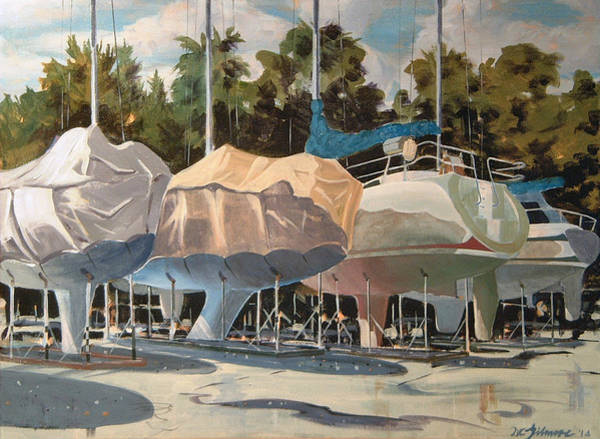 Painting - Four Yachts At Rest by David Gilmore