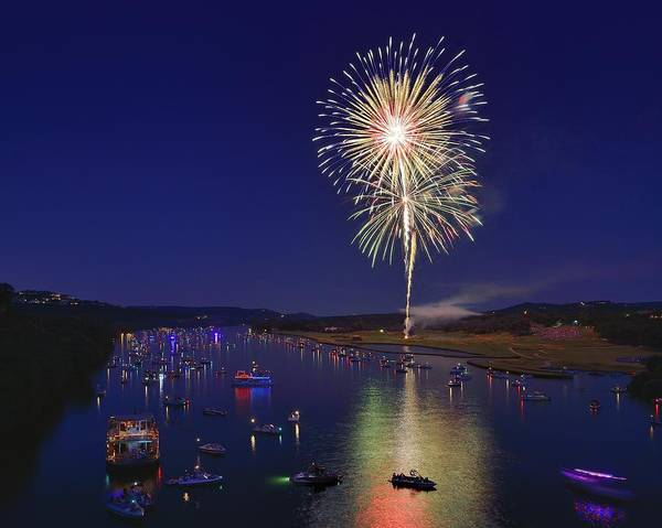 Bluehour Photograph - Fourth Of July Celebration On Lake Austin by Steven Ng