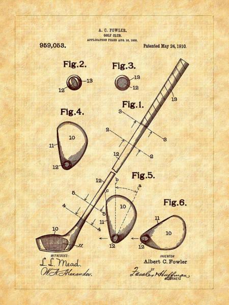 Photograph - Fowler's 1910 Golf Club Patent Art by Barry Jones