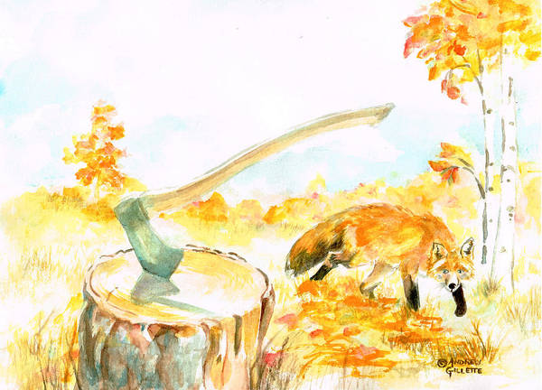 Painting - Fox In Autumn by Andrew Gillette