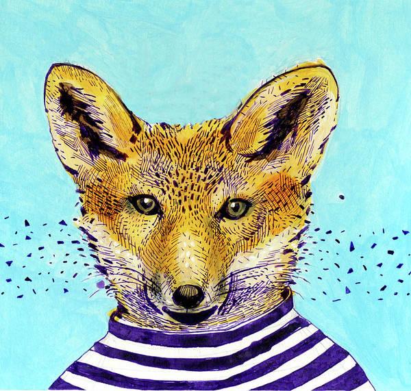 Horizontal Stripes Digital Art - Fox In The Striped T-shirt by Lucia Lukacova