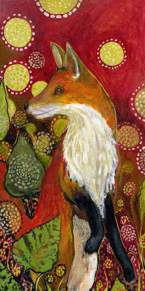 Folk Painting - Fox Listens by Jennifer Lommers