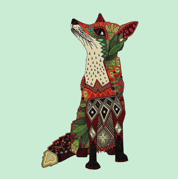 Woodland Drawing - Fox Love Mint by MGL Meiklejohn Graphics Licensing