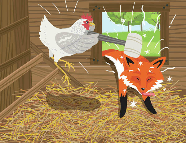 Shed Digital Art - Fox Passed Out After Being Hit With A by Diane Labombarbe