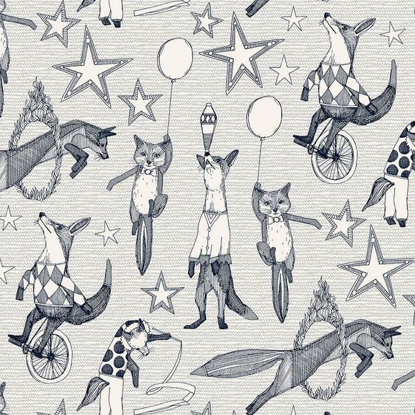 Wall Art - Painting - Foxy Circus Indigo Ivory by MGL Meiklejohn Graphics Licensing