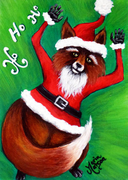 Painting - Foxy Santa by Monique Morin Matson
