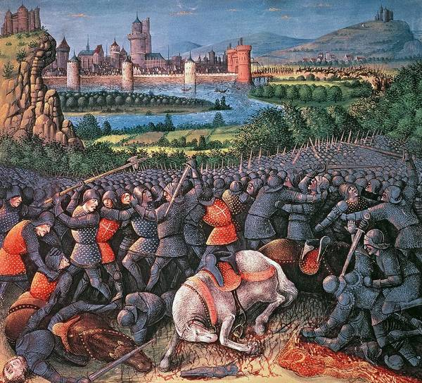 Muslim Photograph - Battle Scene From Passages Faits Outremer Written By Sebastien Mamerot by French School