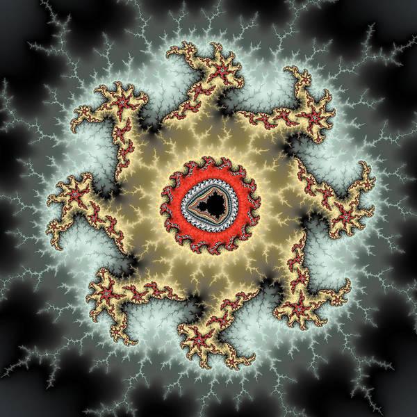 Digital Art - Fractal Artwork Yellow Red Grey Black Square Format by Matthias Hauser