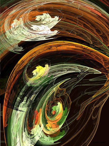 Digital Art - Fractal - Autumn Leaves Swirling Wind by Susan Savad
