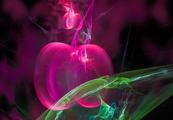 Digital Art - Fractal Cherry Design Pink Red Green by Matthias Hauser