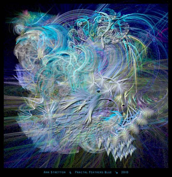 Digital Art - Fractal Feathers Blue by Ann Stretton
