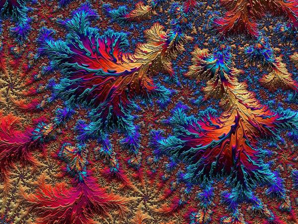 Art Print featuring the digital art Fractal Jewels Series - Beauty On Fire II by Susan Maxwell Schmidt
