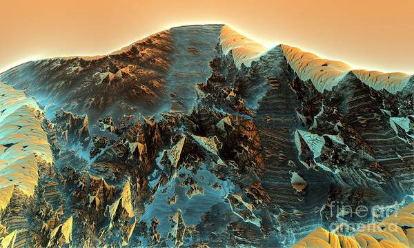 Fractal Moutain Art Print by Bernard MICHEL