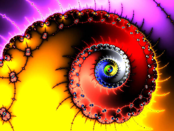 Digital Art - Fractal Spiral Bold Colors Yellow Red And Purple by Matthias Hauser