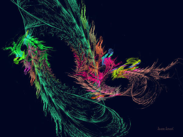 Digital Art - Fractal - Winged Dragon by Susan Savad