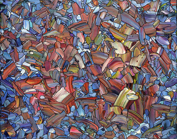 Stained Glass Wall Art - Painting - Fragmented Rose by James W Johnson