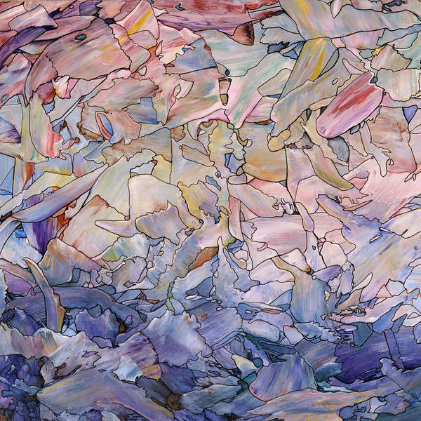 Stained Glass Wall Art - Painting - Fragmented Sea - Square by James W Johnson