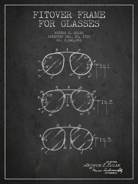 Wall Art - Digital Art - Frame For Glasses Patent From 1938 - Dark by Aged Pixel