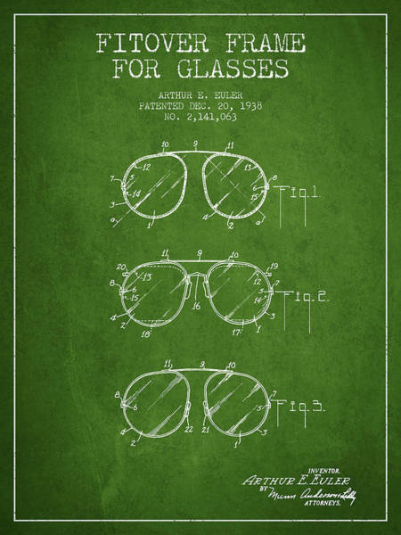 Wall Art - Digital Art - Frame For Glasses Patent From 1938 - Green by Aged Pixel