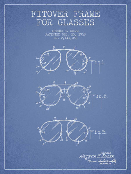 Wall Art - Digital Art - Frame For Glasses Patent From 1938 - Light Blue by Aged Pixel